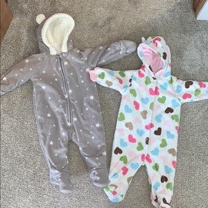Lot of 2 baby bunting outfits.